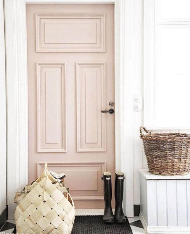 deco peinture entrée porte rose
