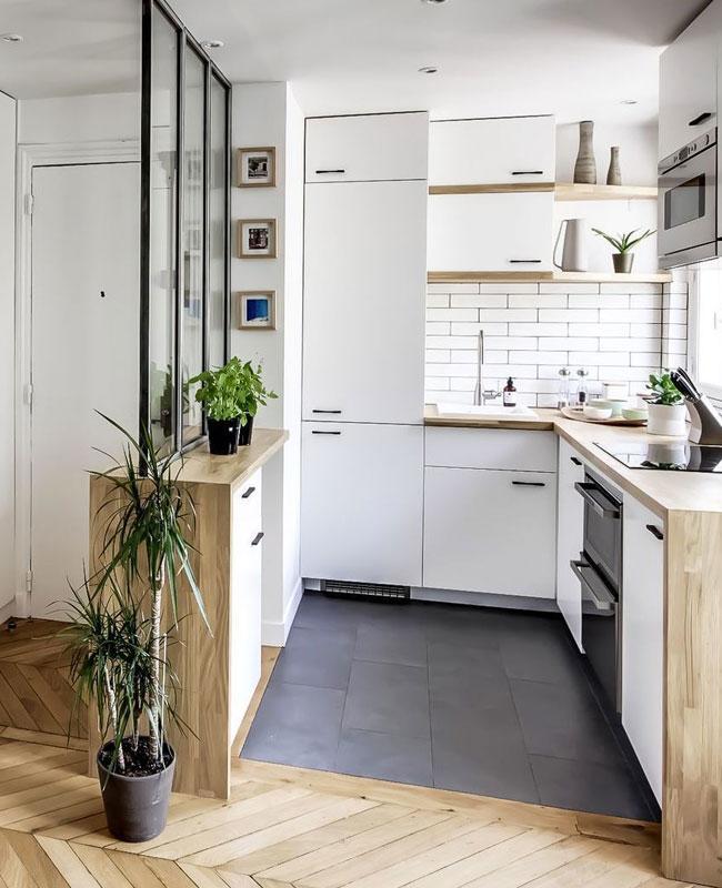 deco petite cuisine blanc bois