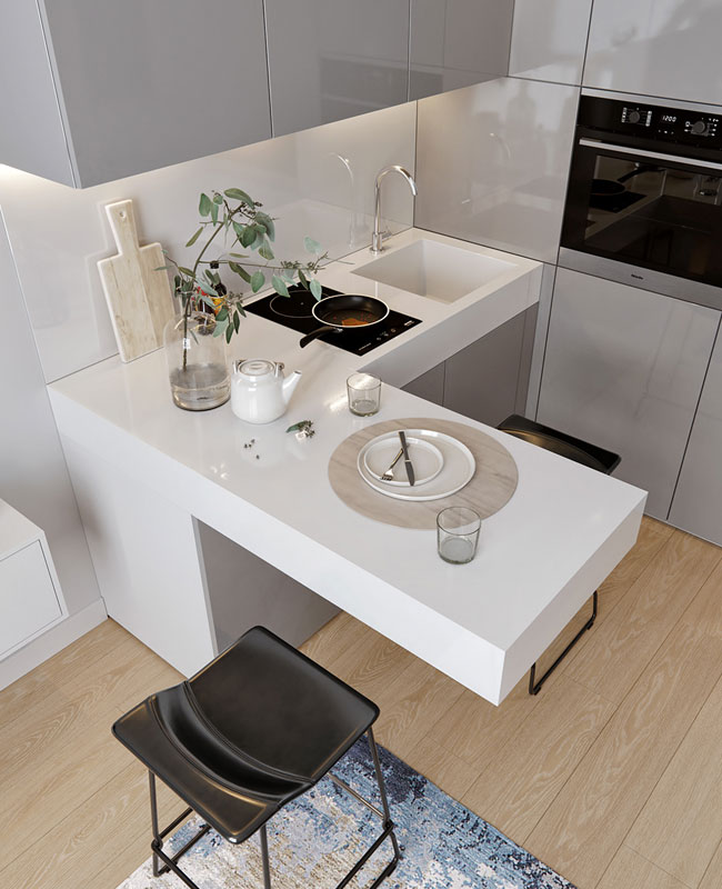 deco petite cuisine gris blanc