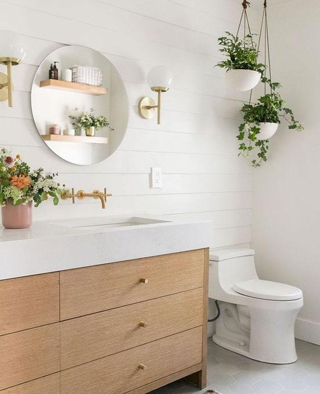 deco plante salle de bain pot suspendu