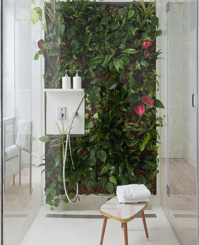 deco plante salle de bain mur végétal douche