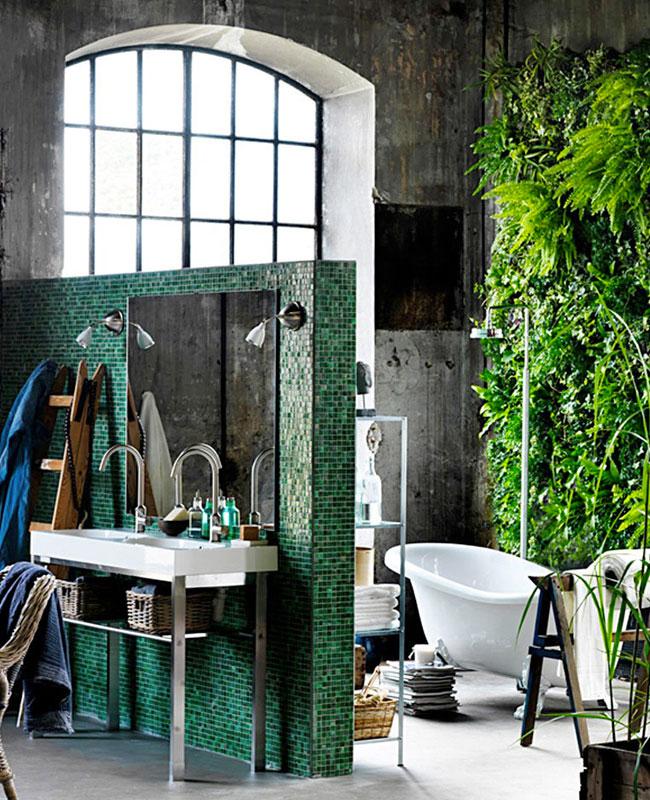 deco plante salle de bain industriel mur végétal