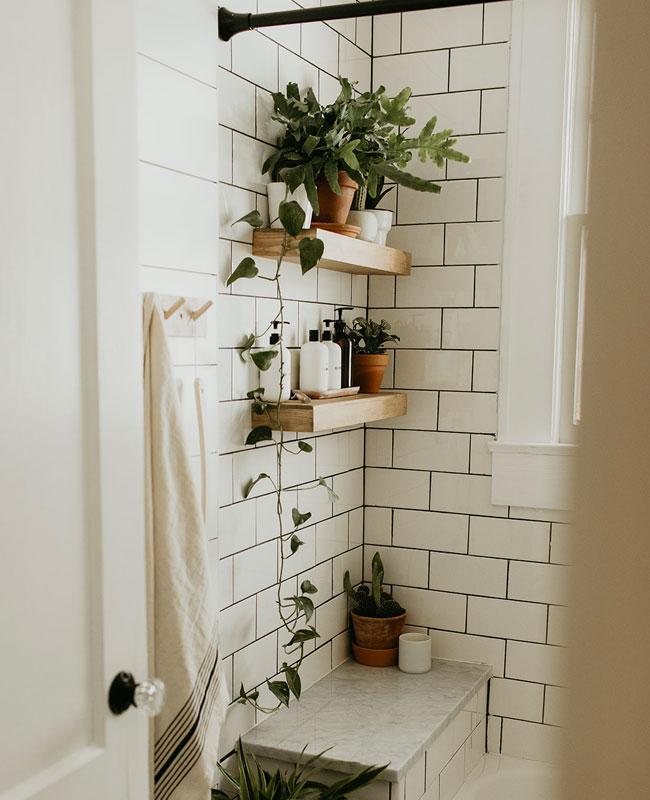 deco plante salle de bain etagere bois
