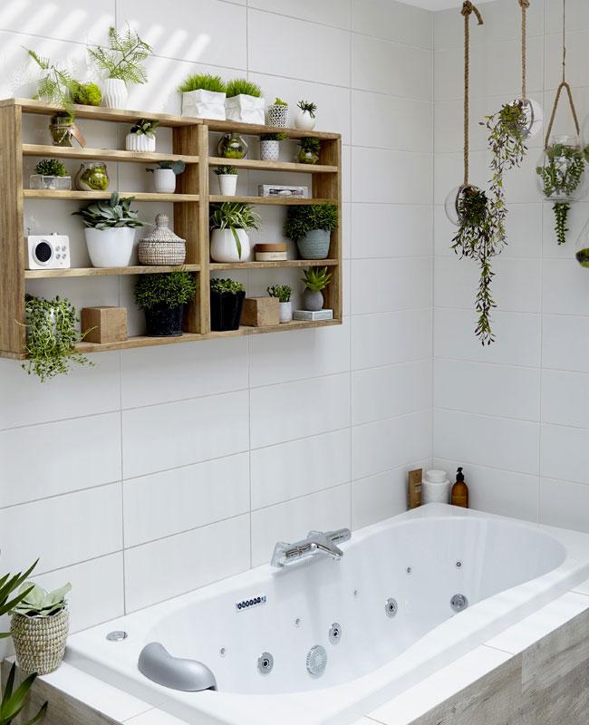 deco plante salle de bain étagere casier