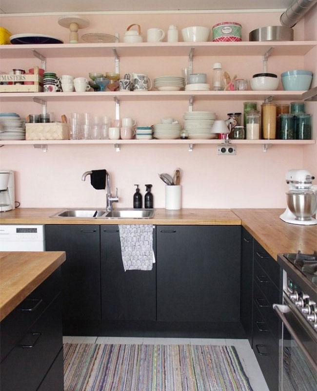 deco rose noir cuisine mur