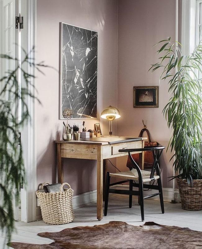 deco rose noir bureau chaise