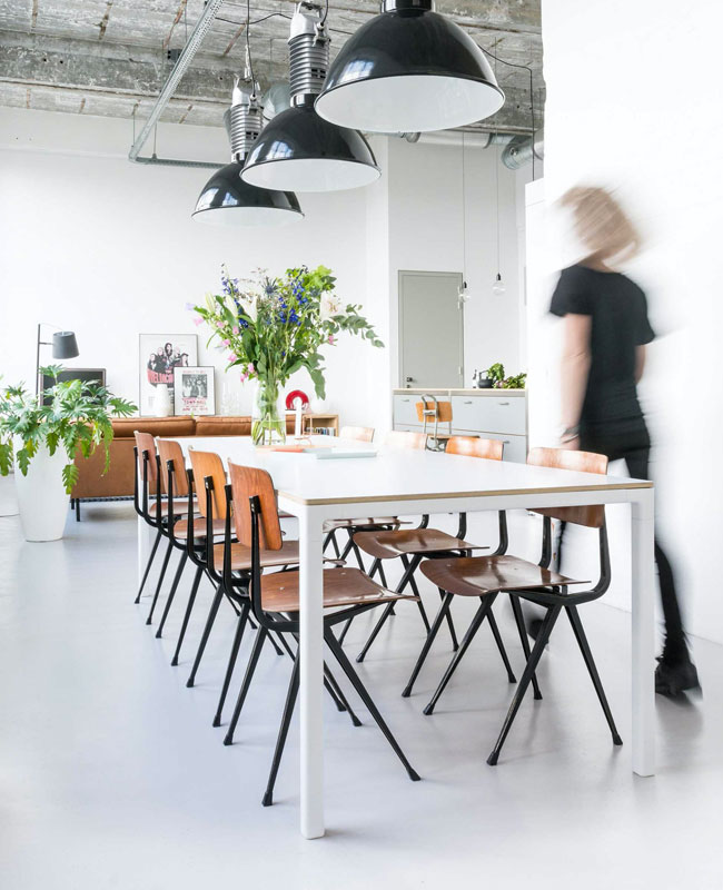 deco salle a manger industrielle beton blanc