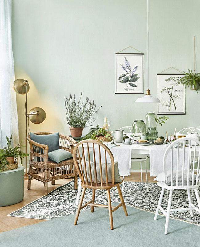 deco salle a manger nature mur vert pastel