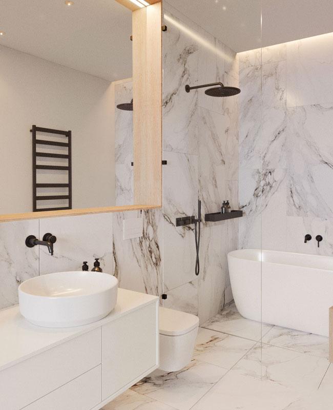 deco salle de bain blanc marbre bois
