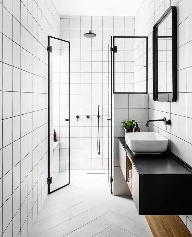 deco salle de bain blanc moderne noir