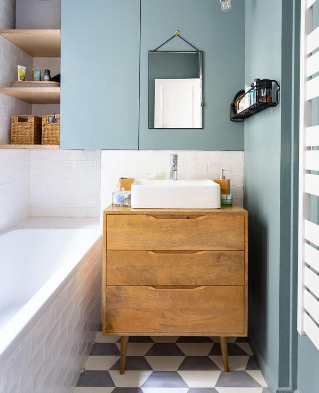 deco salle de bain bleu mur bleu clair