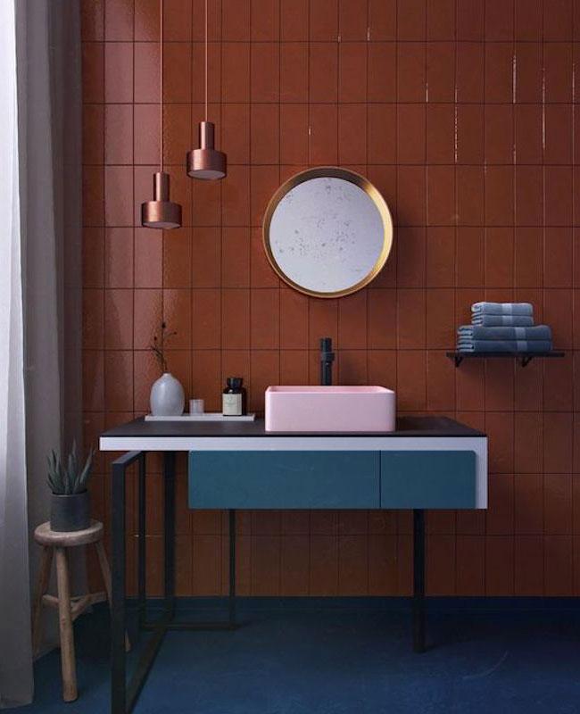 deco salle de bain bleu meuble sous vasque