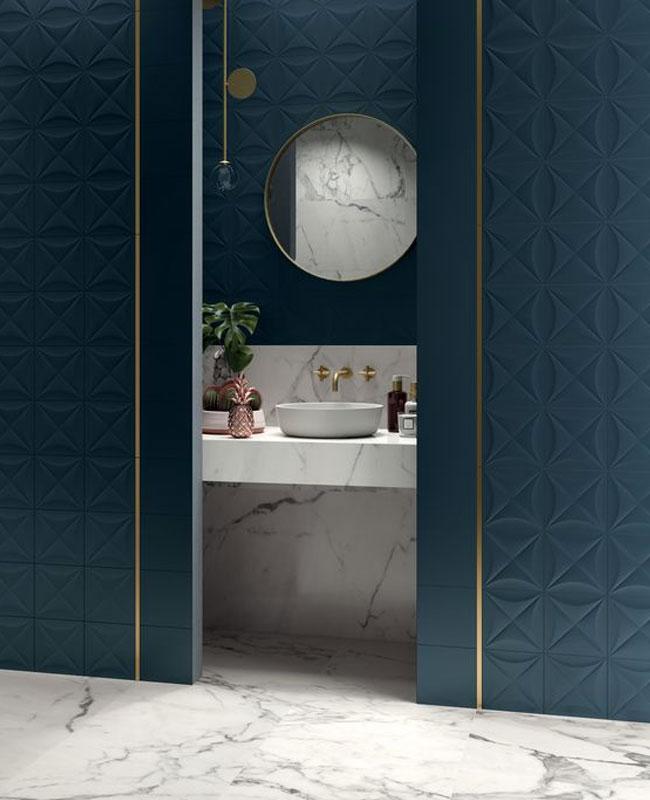 deco salle de bain bleu porte meuble