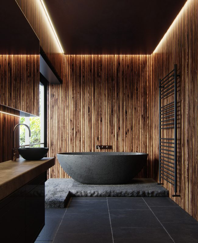 deco salle de bain noir zen