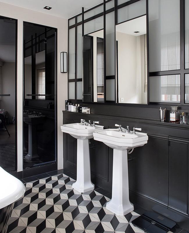 deco salle de bain noir carreaux ciment sol