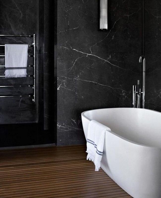 deco salle de bain noir marbre