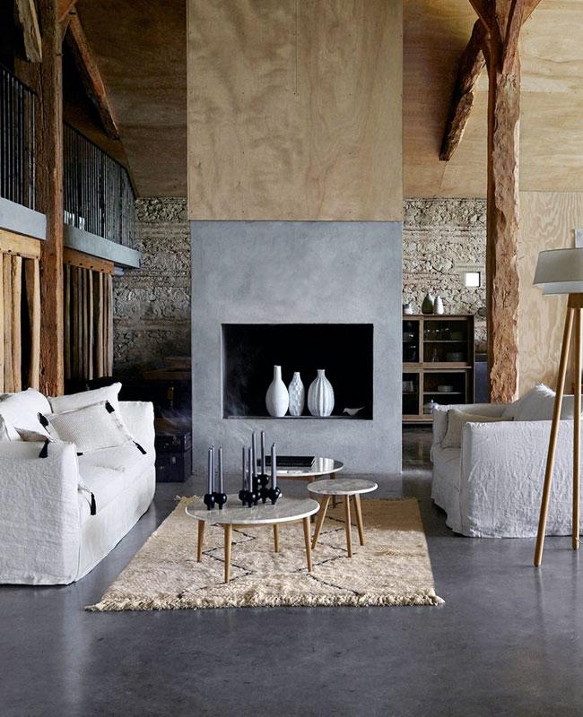 deco salon gris sol beton ciré