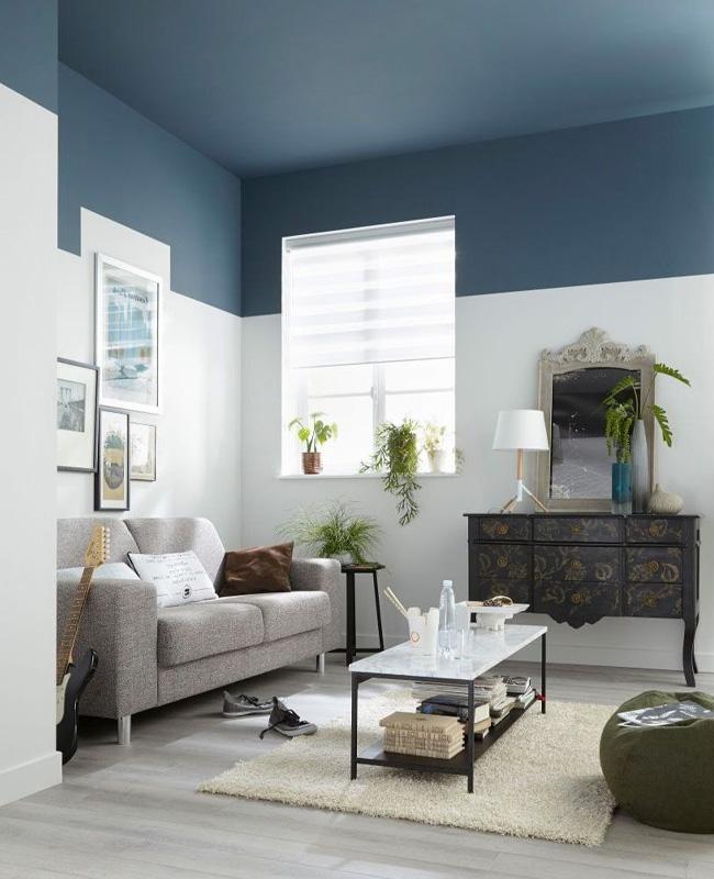 deco salon gris bleu plafond