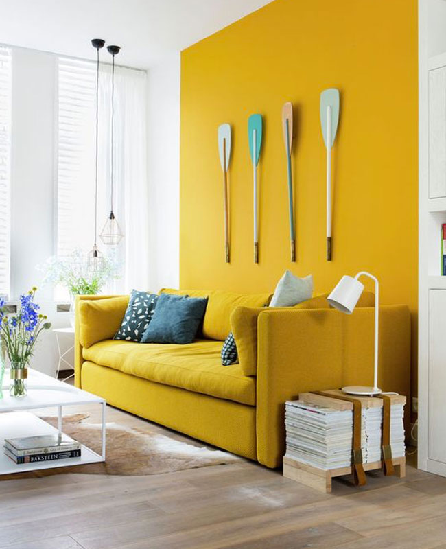 deco salon jaune mur