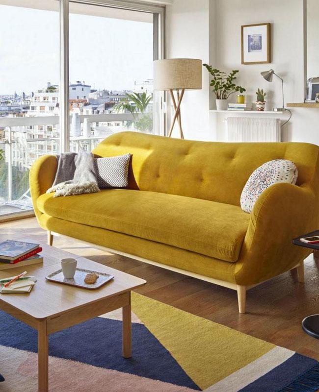 deco salon jaune canape