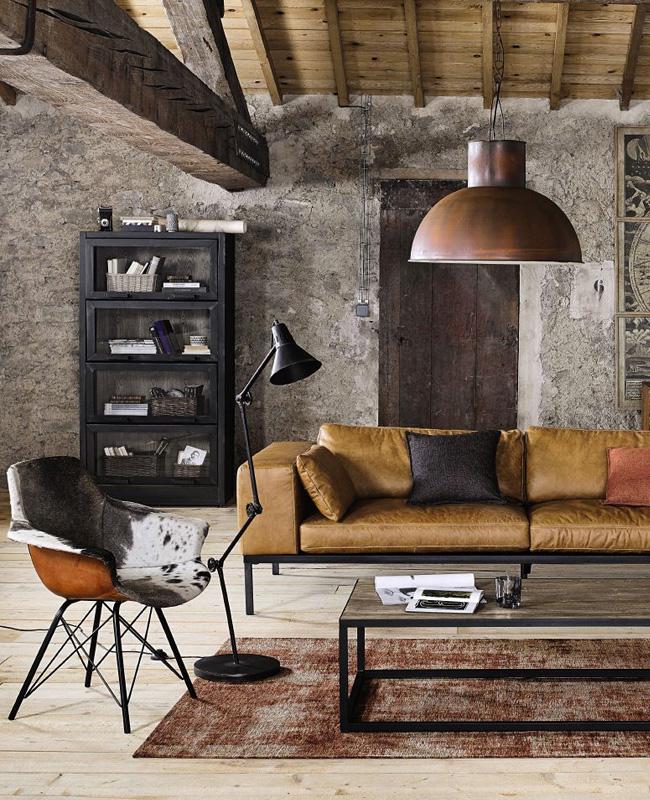 deco salon moderne industriel canapé moderne