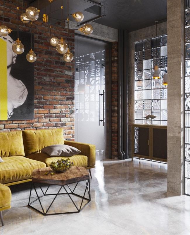 deco salon moderne industriel sol béton