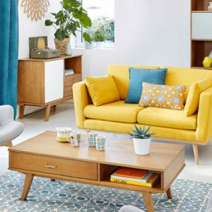 deco salon scandinave jaune