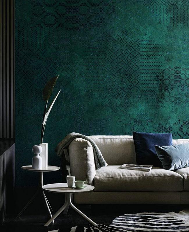 Deco Salon vert canard papier peint