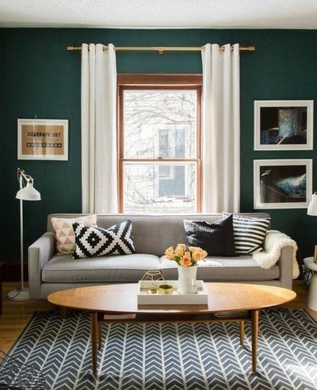 Deco Salon vert canard peinture mur