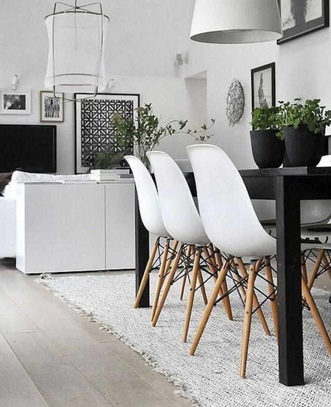 deco scandinave moderne salle a manger noir blanc
