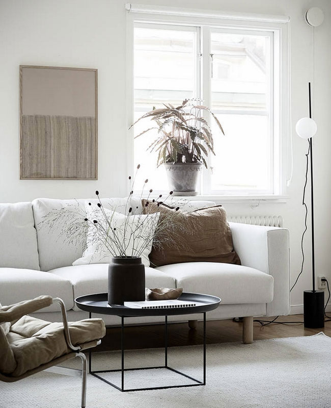 deco scandinave moderne salon blanc noir