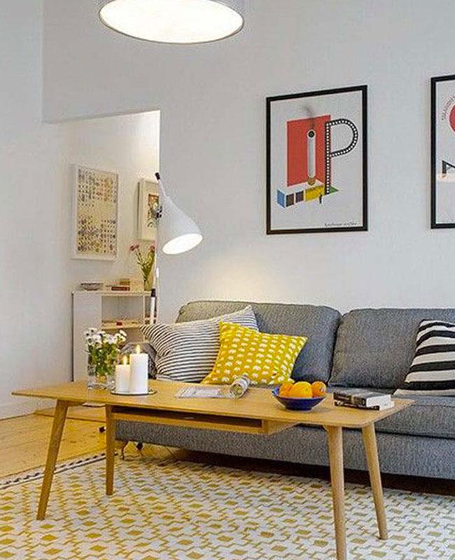 deco scandinave moderne salon gris jaune