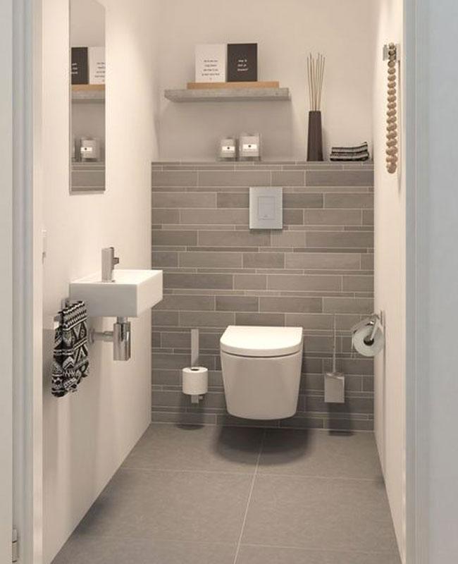 deco toilettes wc gris carrelage moderne