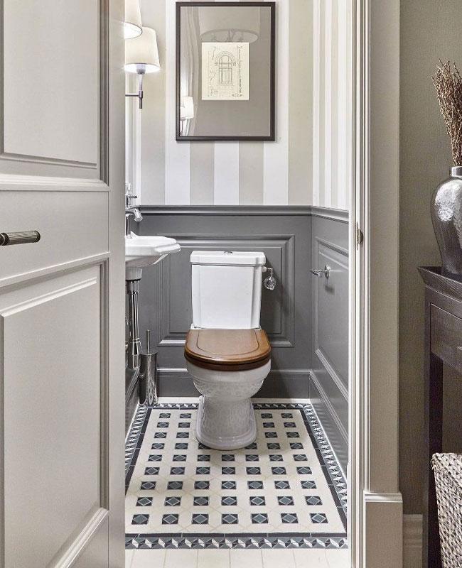 deco toilettes wc gris carreaux de ciment campagne