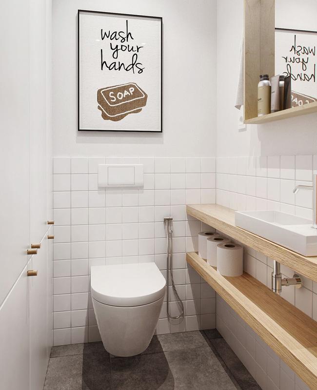 deco toilette wc scandinave blanc bois