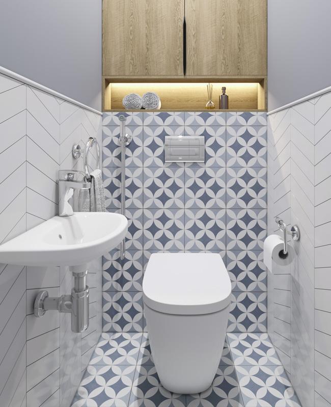 deco toilette wc scandinave carrelage motif bleu