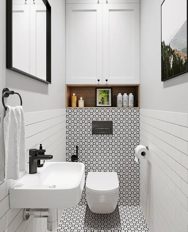 deco toilette wc scandinave noir blanc