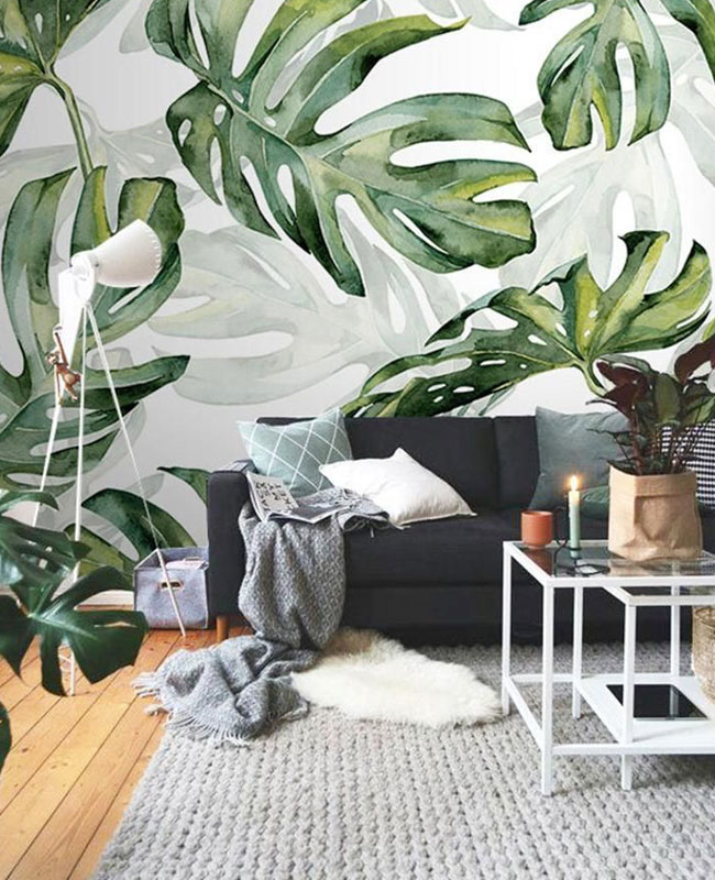 quel papier peint deco salon tropical monstera