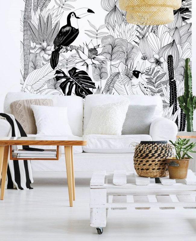 quel papier peint deco salon tropical noir et blanc
