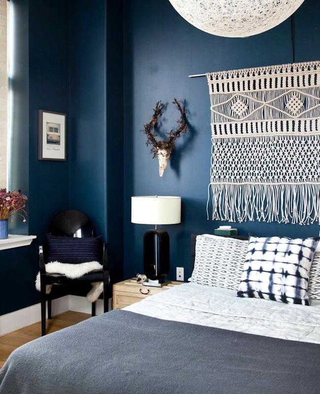 deco boheme bleu chambre mur