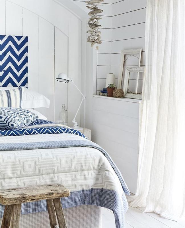 deco bord de mer blanc chambre bleu