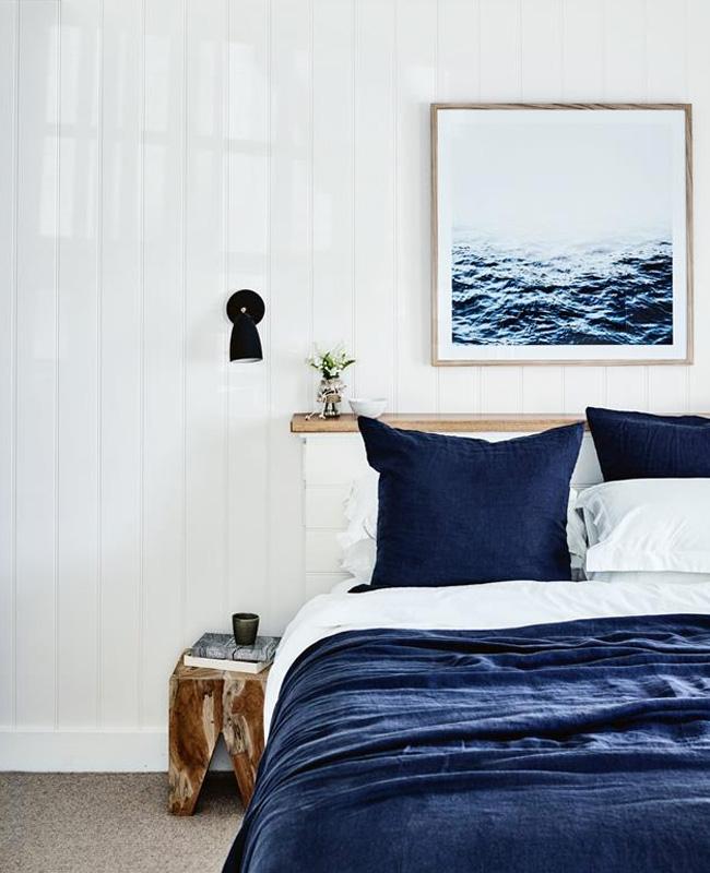 deco bord de mer chic chambre bleu marine