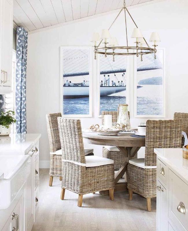 deco bord de mer chic salle a manger blanc bleu