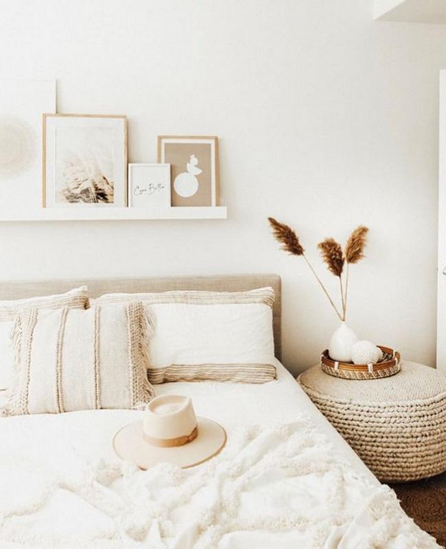 deco chambre beige blanc boheme