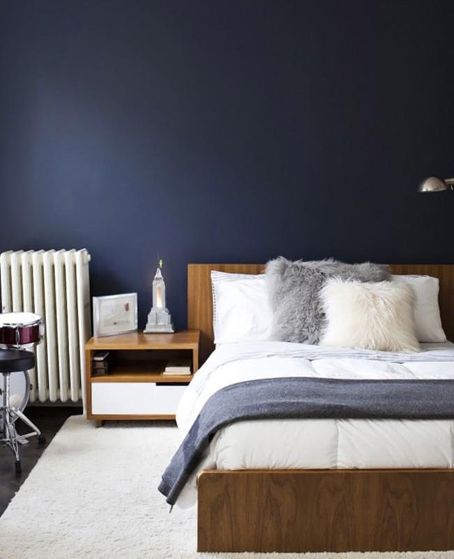 deco chambre beige bleu moderne