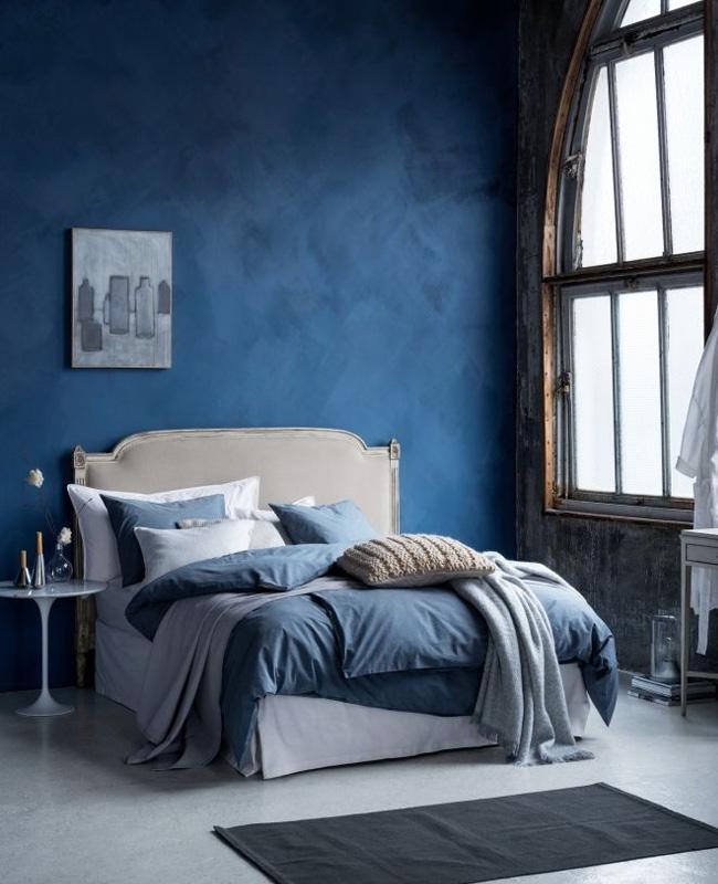 deco chambre beige bleu chic