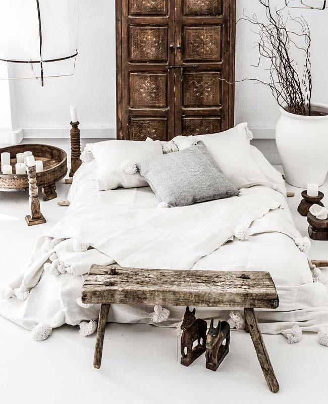 deco chambre boheme blanc lin