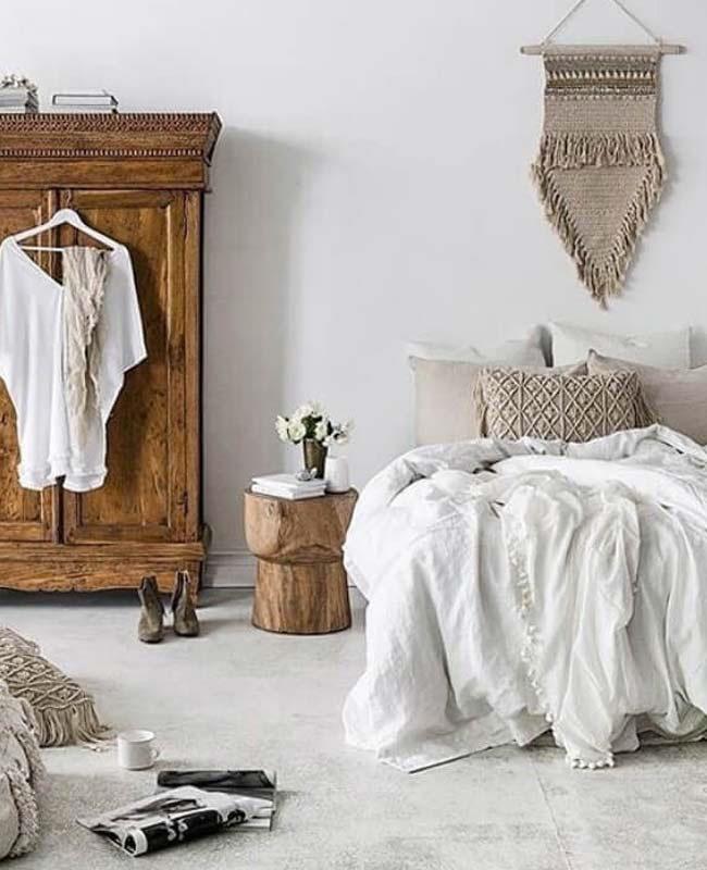 deco chambre boheme blanc bois
