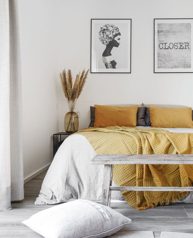 deco chambre jaune moutarde et gris boheme