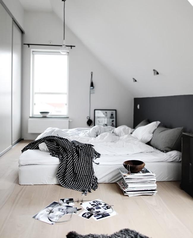 deco chambre moderne blanc noir